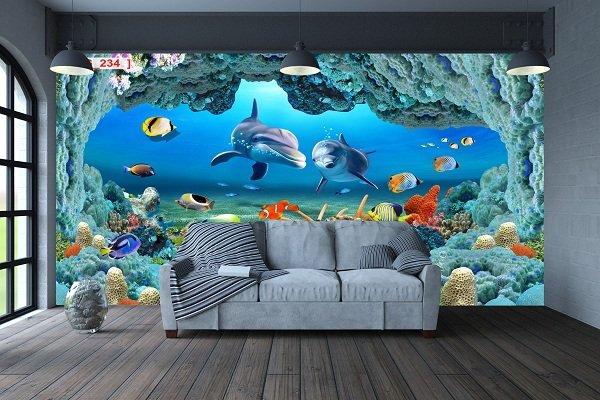 Tranh Dán Tường Phong Cảnh Biển Sắc Màu Đại Dương 3D