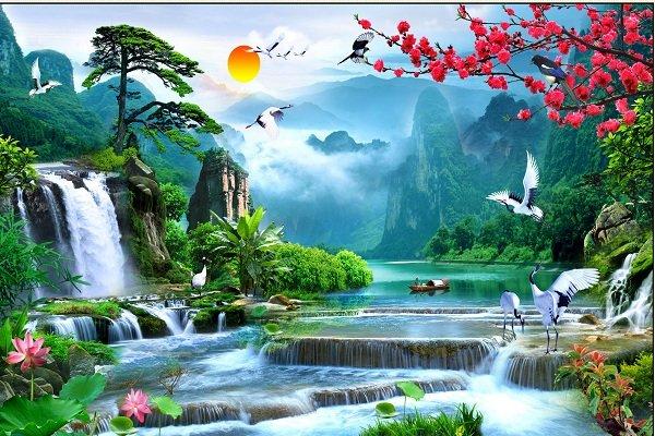 tranh dán tường phong cảnh sơn thủy