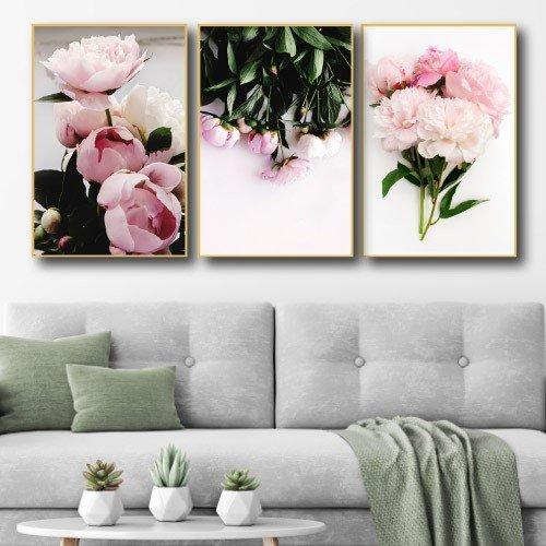 Tranh treo tường hoa mẫu đơn hồng 2