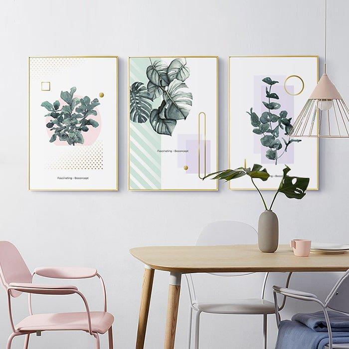 Bộ tranh treo tường 3 lá xanh