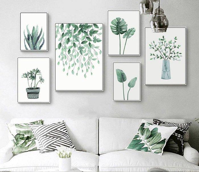 Bộ 6 tranh treo tường lá xanh (HG)