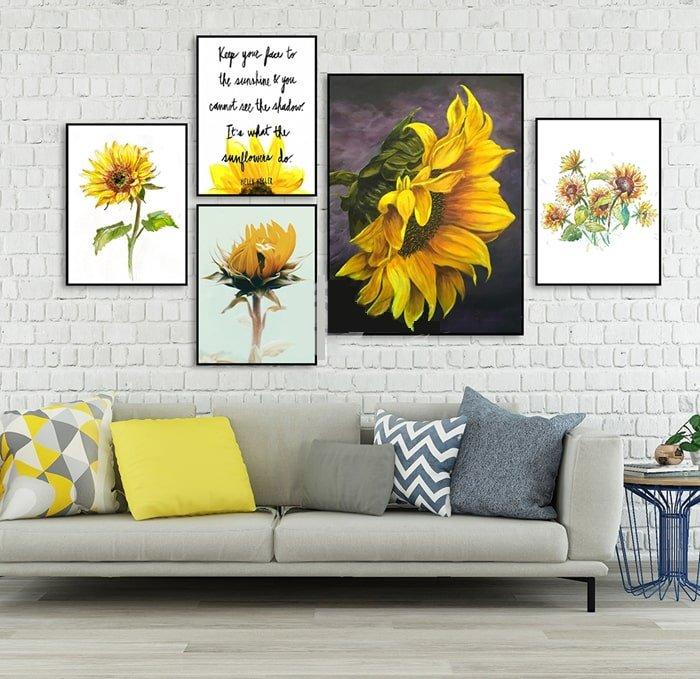 Bộ tranh treo tường hoa hướng dương cách điệu (HG)
