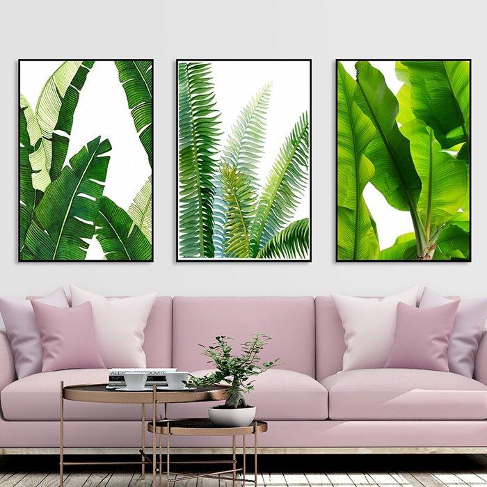 Bộ 3 tranh treo tường 3 lá xanh 2