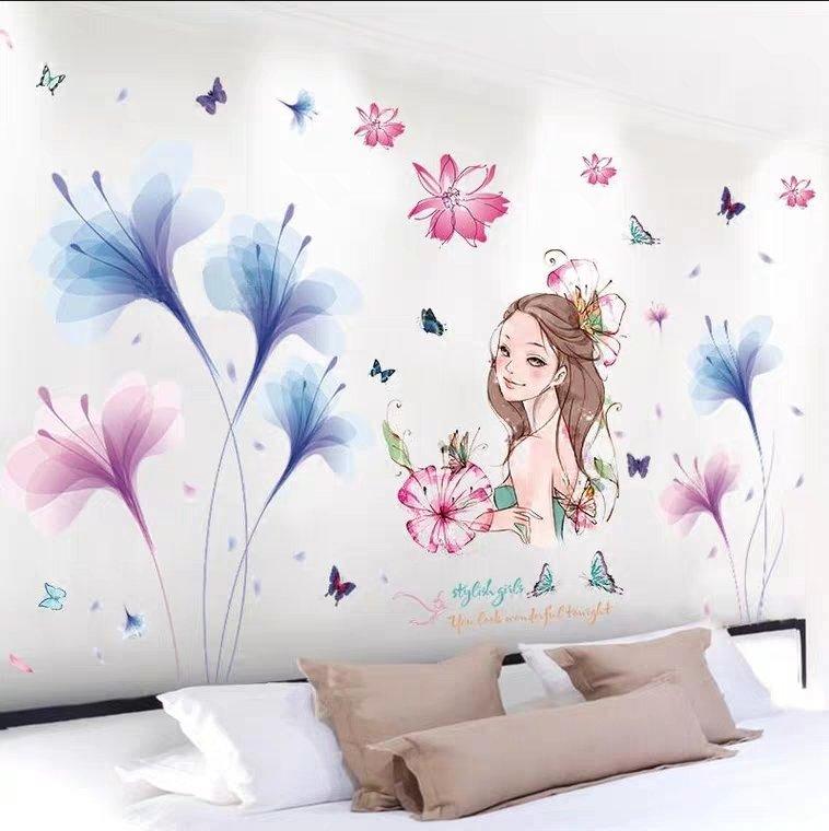 Decal dán tường combo cô gái hoa và hoa cánh mỏng xanh 3