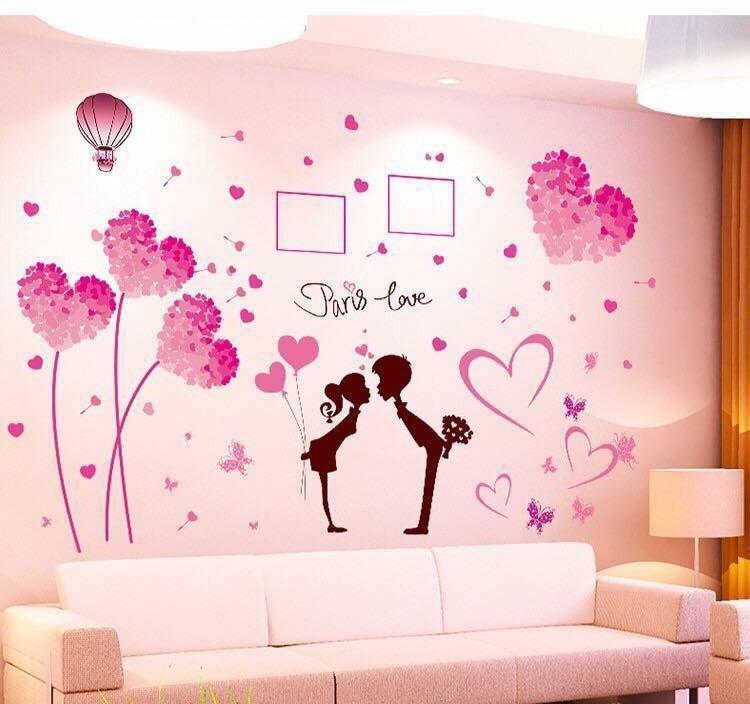 Decal dán tường combo trái tim hồng size to và tình nhân 9