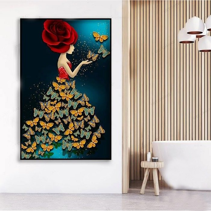 Tranh treo tường thiếu nữ hoa bướm