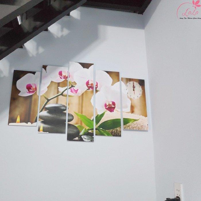 Tranh đồng hồ hoa lan trắng size 5 tấm