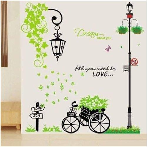 Decal dán tường combo cây cột đèn 1 chùm đèn lá xanh xe đạp xanh