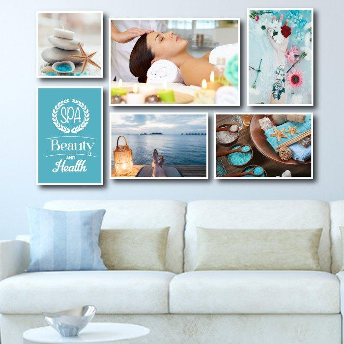 Bộ tranh treo tường spa cô gái và biển xanh