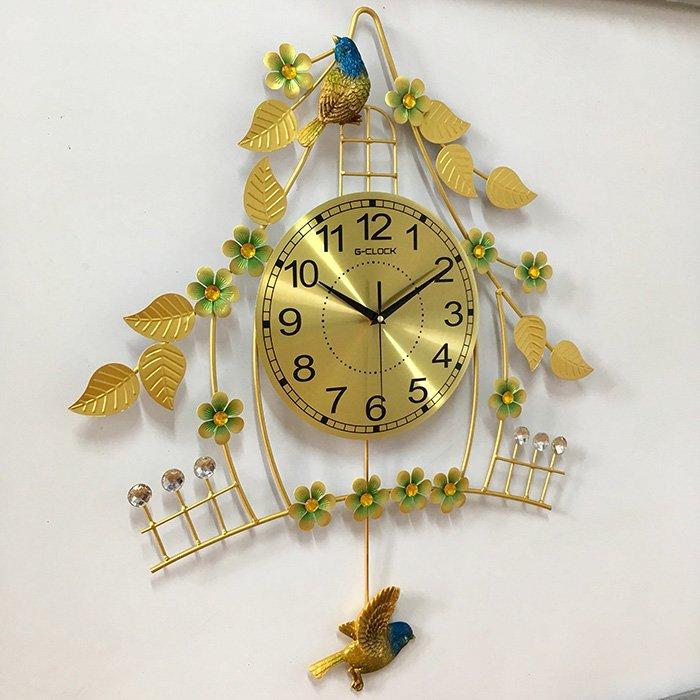 Đồng hồ treo tường đính đá ngôi nhà chim non 2