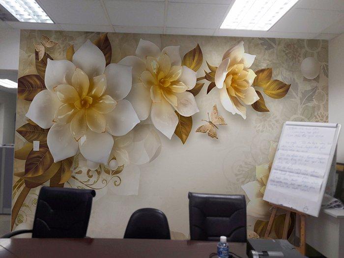 Tranh dán tường 3d hoa ngọc