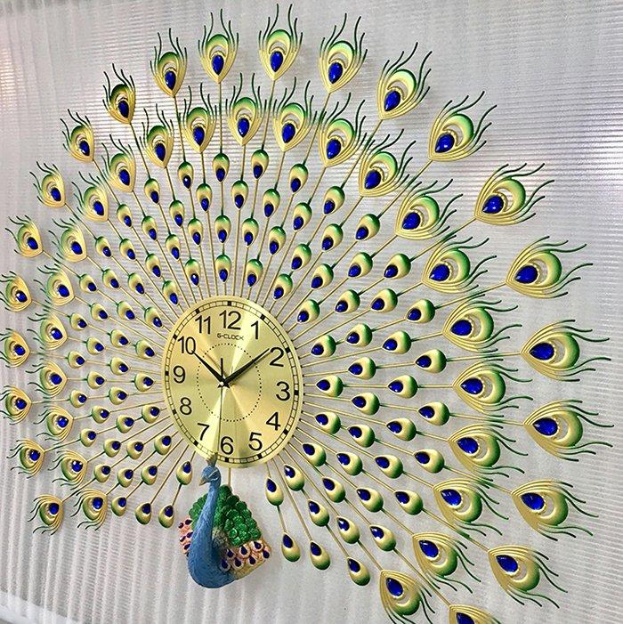 Đồng hồ treo tường đính đá chim công xanh may mắn 2