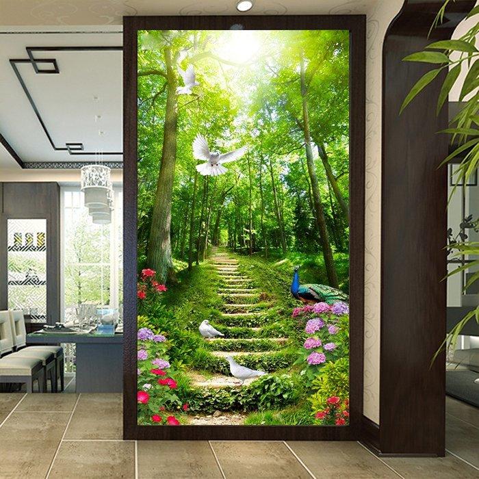 Tranh dán tường rừng xanh