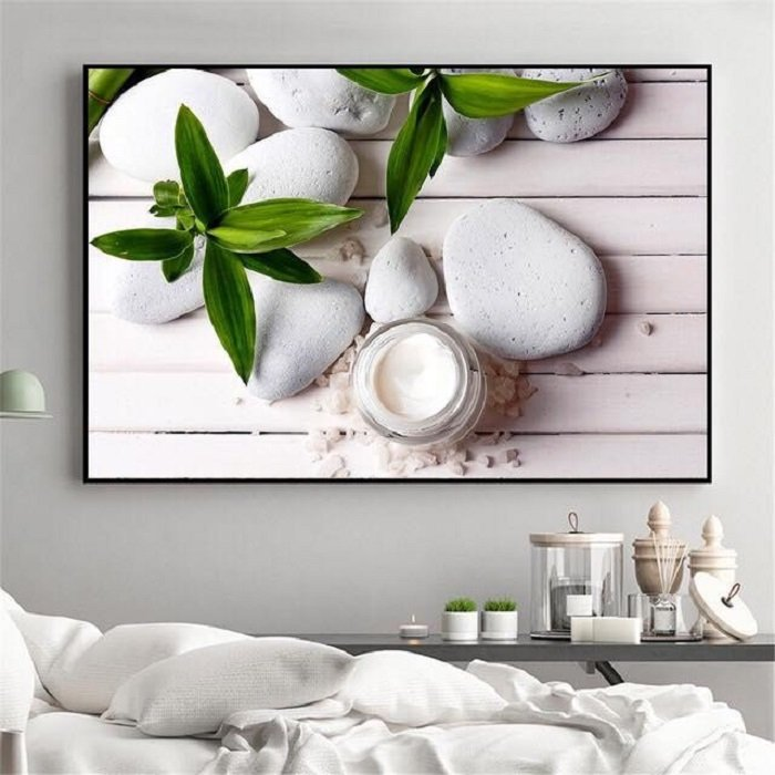 Tranh treo tường spa sỏi trắng