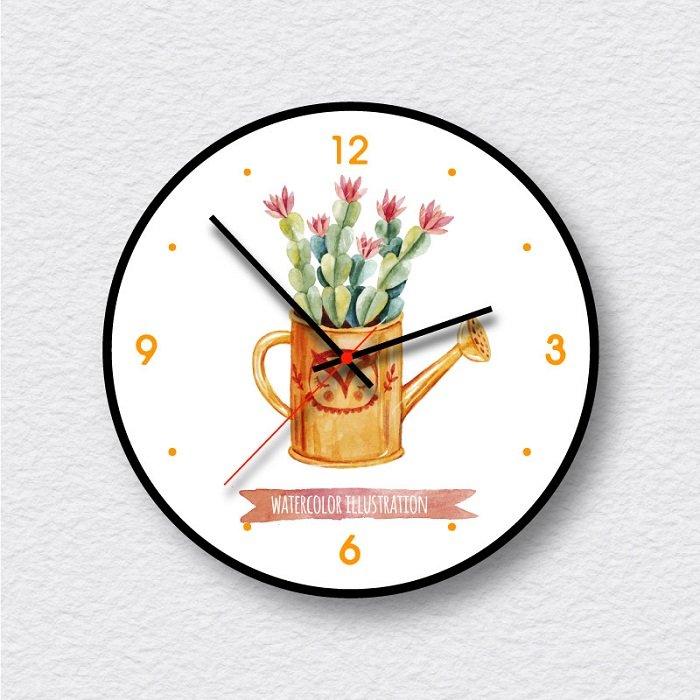 Đồng hồ vintage bình hoa xương rồng đỏ