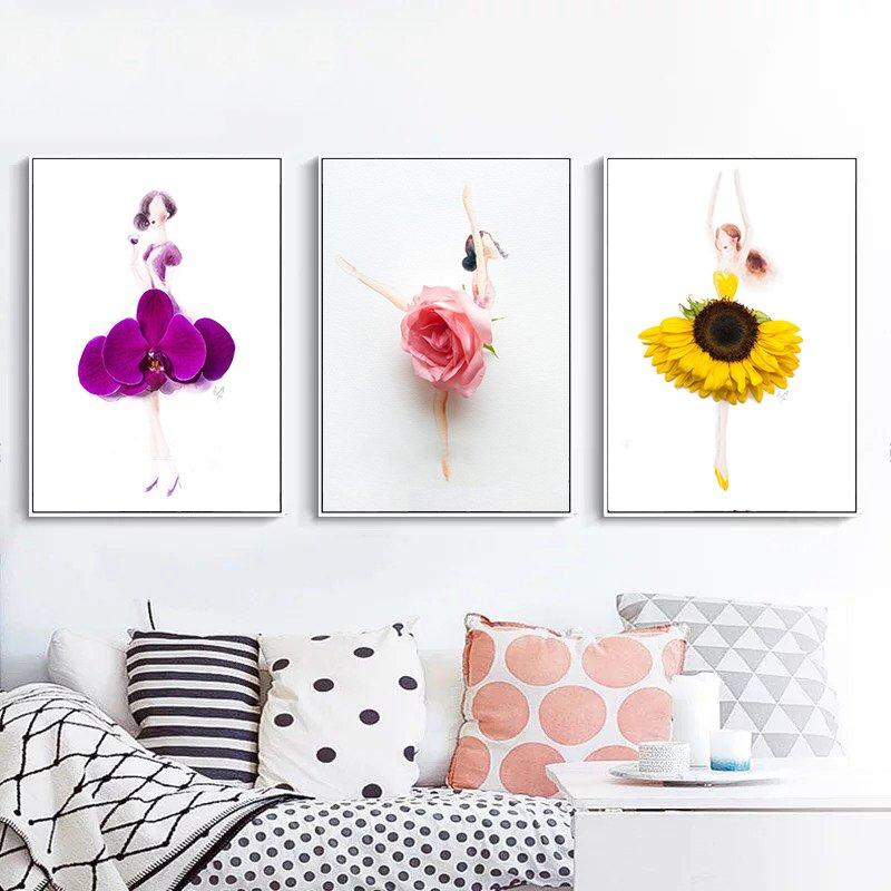 Tranh treo tường 3 cô gái váy hoa