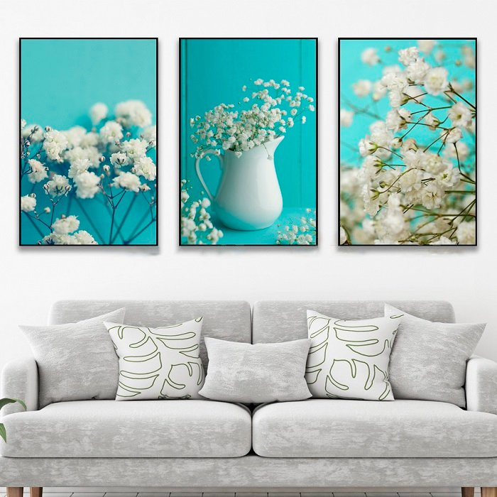 Tranh treo tường hoa baby trắng