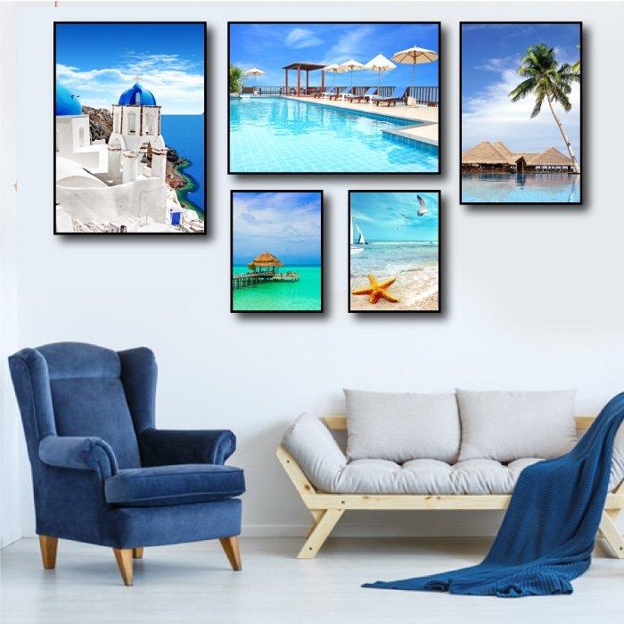 Tranh treo tường bãi biển xanh