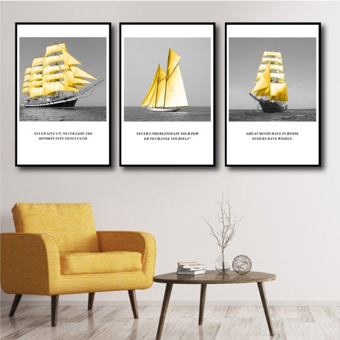 Tranh treo tường thuyền vàng 2