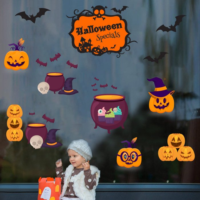 Decal Trang Trí Halloween Rùng Rợn Combo 6