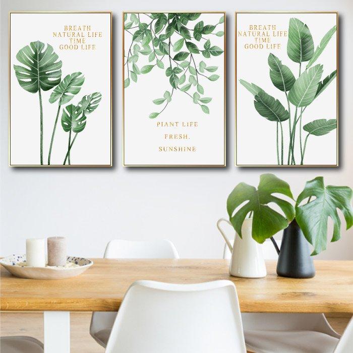 Tranh treo tường bộ 3 lá xanh nhiệt đới