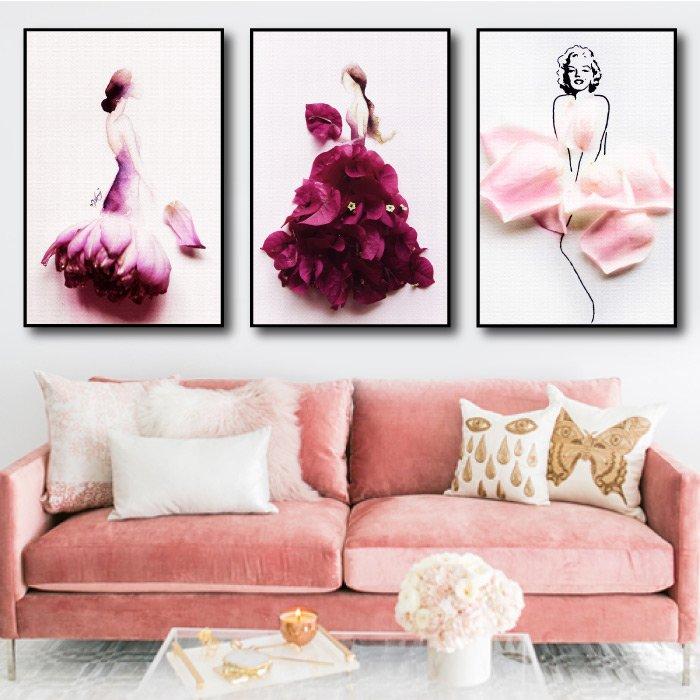 Tranh treo tường cô gái váy hoa 2