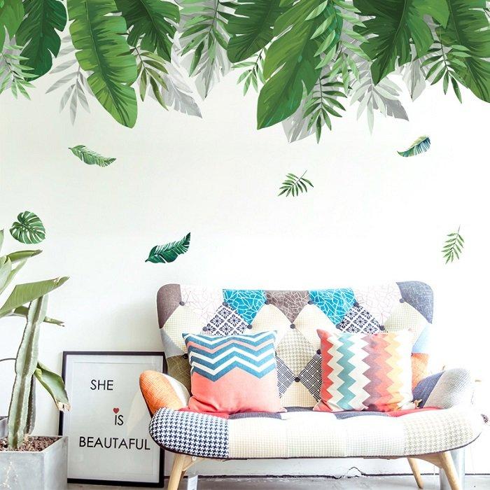 Decal dán tường giàn lá xanh nhiệt đới