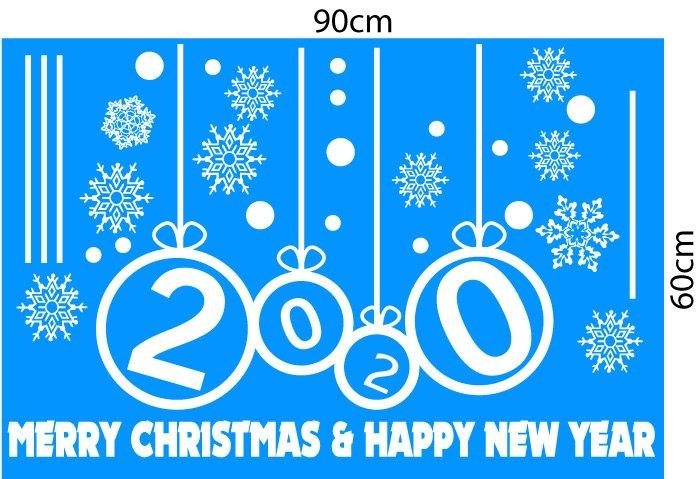 Decal Noel và chúc mừng năm mới 2019 chữ trắng