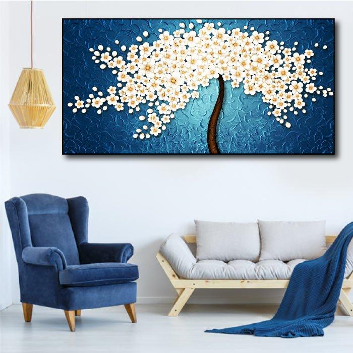 Tranh treo tường cây hoa mai trắng