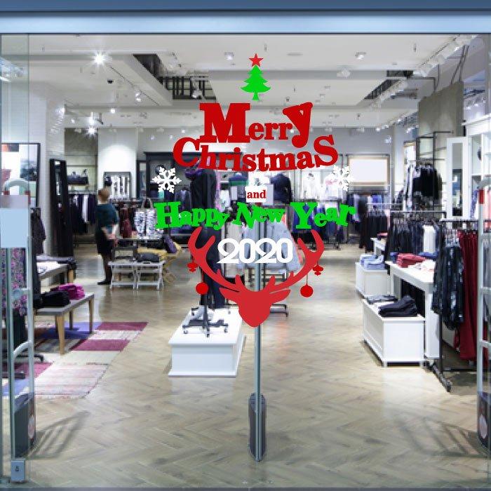 Decal trang trí Noel chữ Merry Christmas và Happy New Year