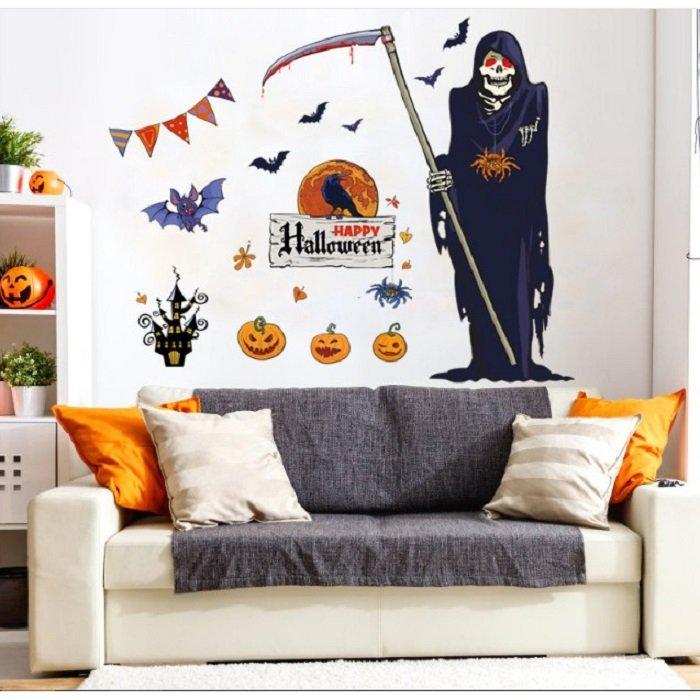 Decal dán tường halloween thần chết