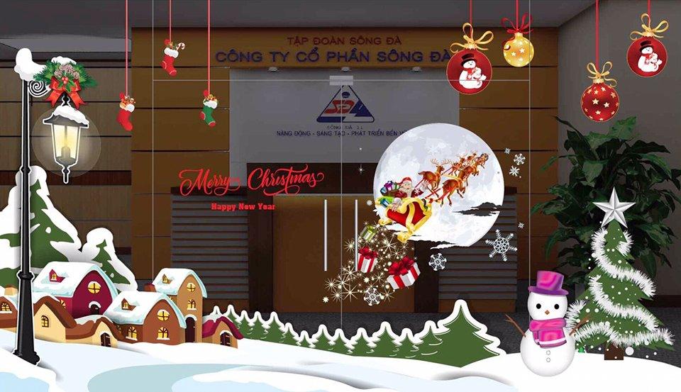 Decal trang trí Noel trang trí cửa kính