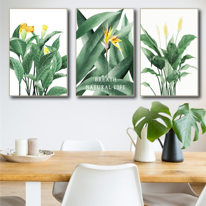 Tranh treo tường hoa vàng và lá xanh nghệ thuật
