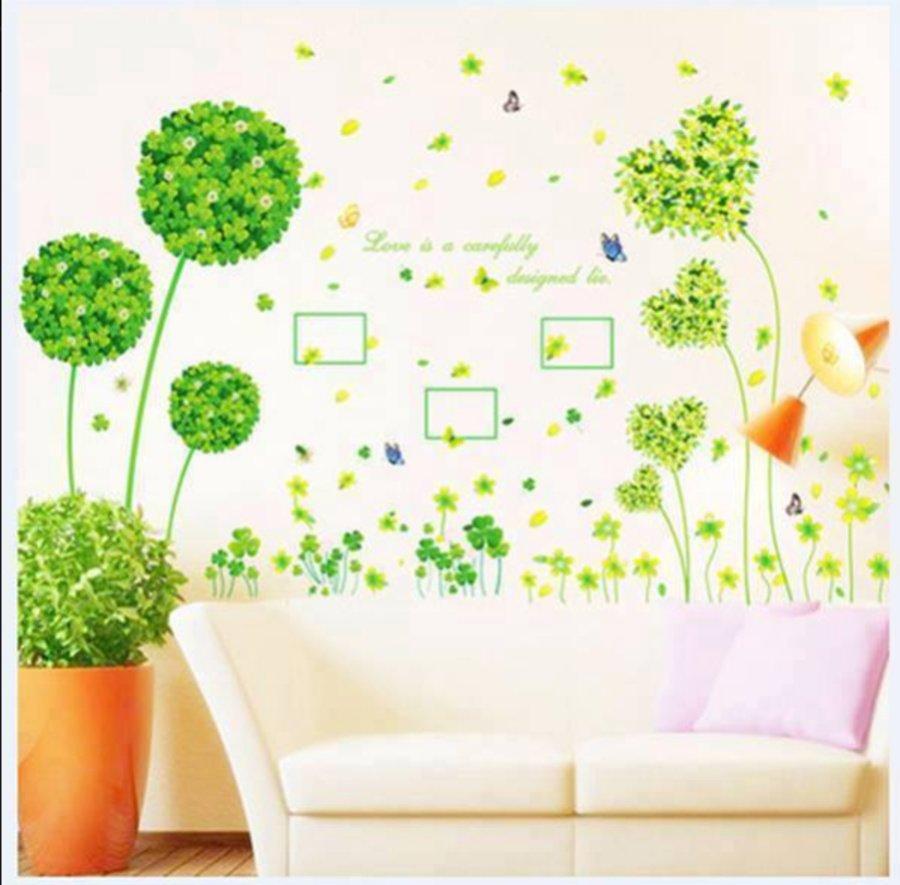 Decal dán tường hoa tú cầu xanh trái tim xanh