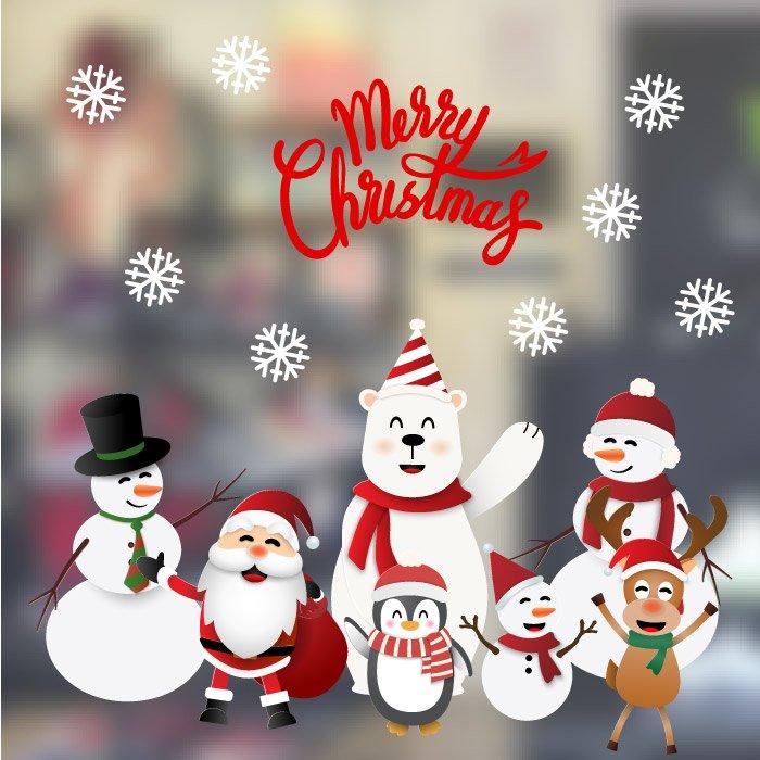 Decal trang trí noel người tuyết và những người bạn