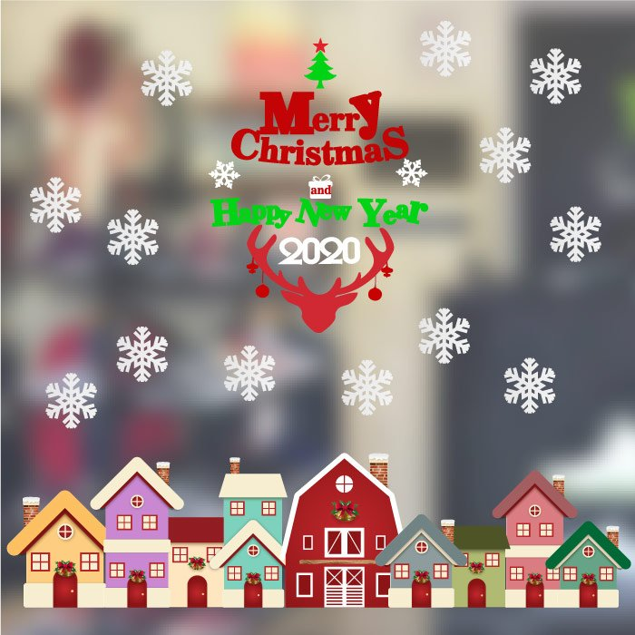Decal trang trí noel merry christmas and happy new year 2020