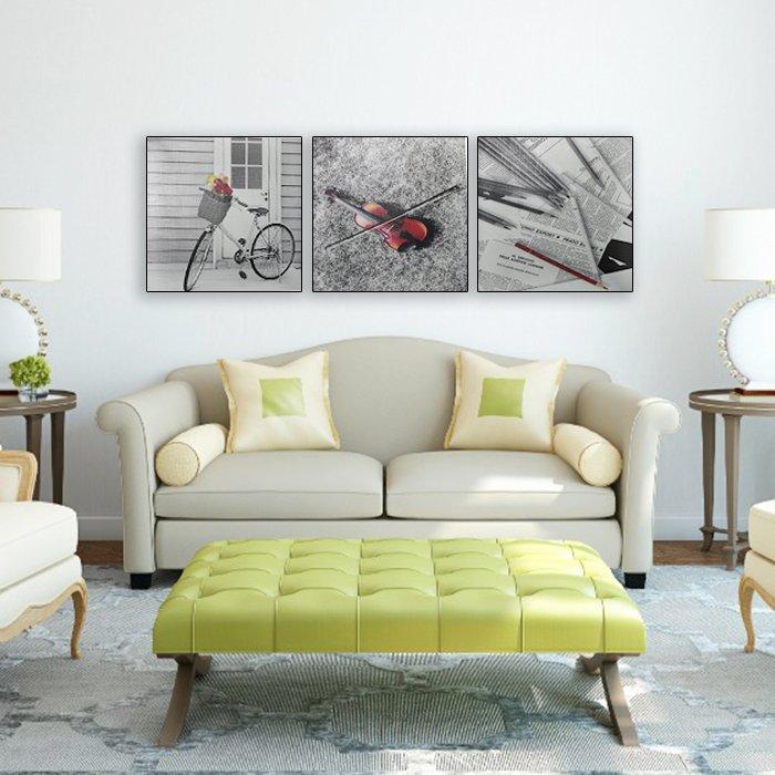 Tranh treo tường xe đạp và bút gỗ