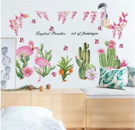Decal dán tường vườn hoa và hồng hạc