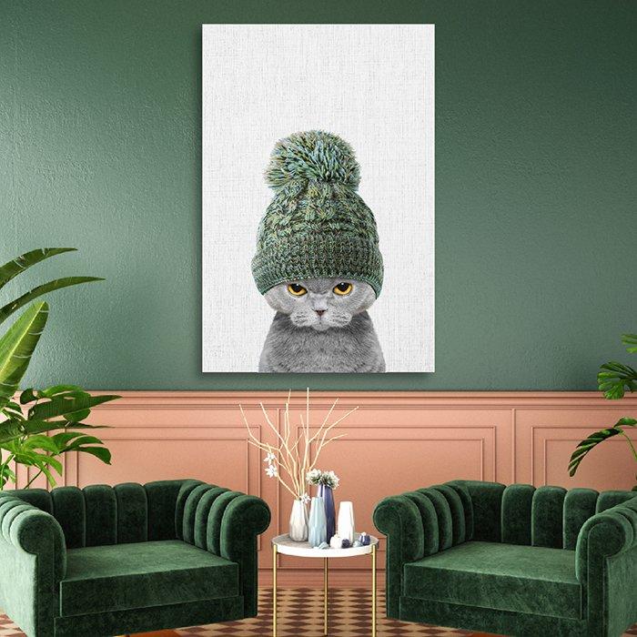 Tranh treo tường bé mèo đội nón len