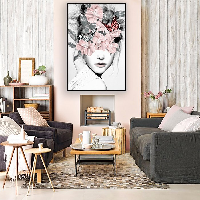 Tranh treo tường thiếu nữ và hoa