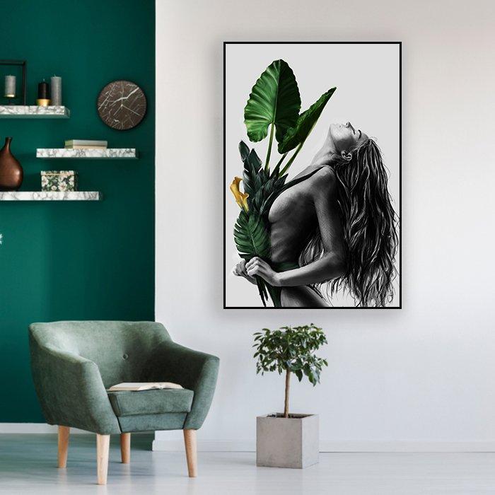 Tranh treo tường thiếu nữ và hoa ly