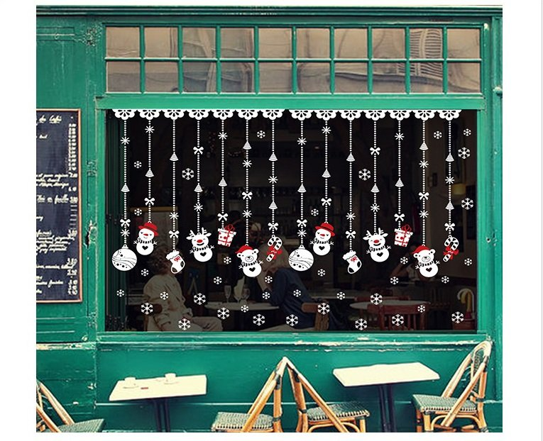 Decal trang trí noel dây treo người tuyết Noel