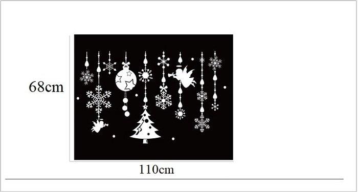 Decal trang trí noel dây treo hoa tuyết và thiên thần