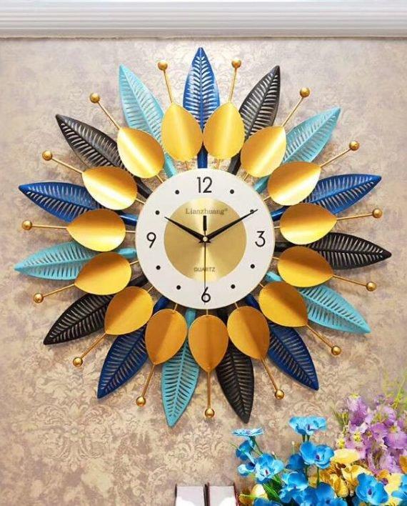 Đồng hồ đính đá treo tường bông hoa 3