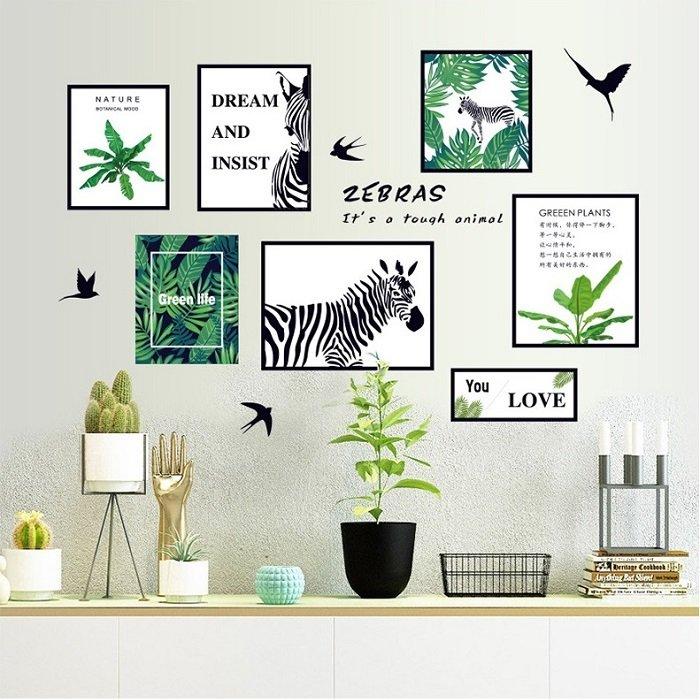 Decal dán tường bộ tranh lá xanh