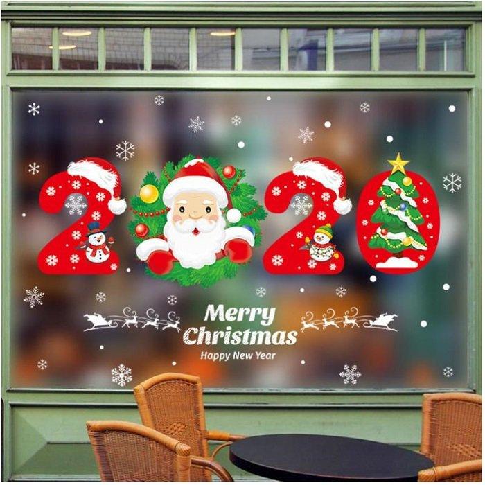 Decal trang trí noel 2 mặt giáng sinh và chúc mừng năm mới 2020