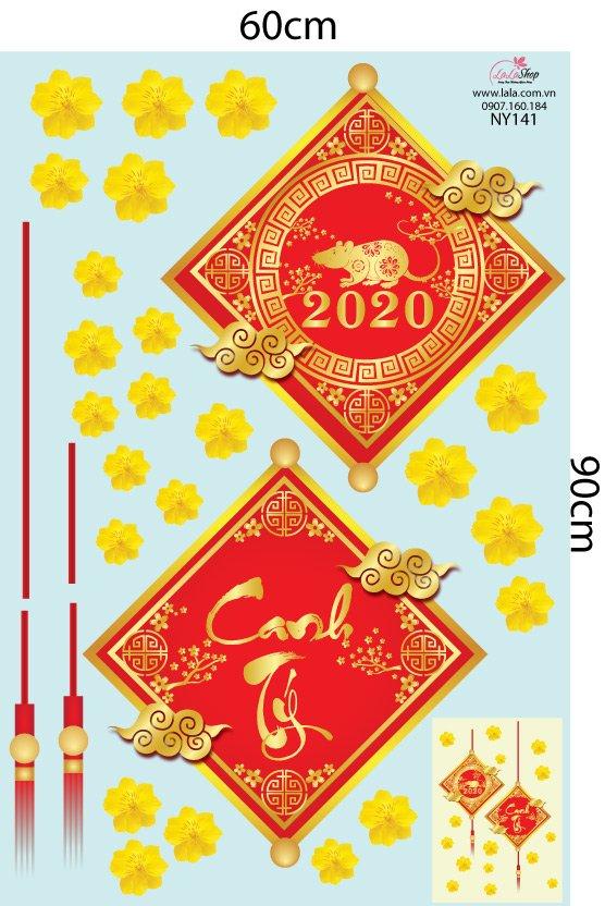 Decal lộc treo may mắn và hoa mai vàng 2020
