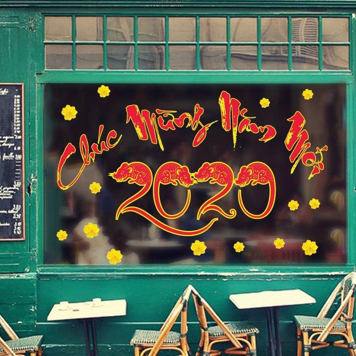 Decal trang trí tết chúc mừng năm mới 2020