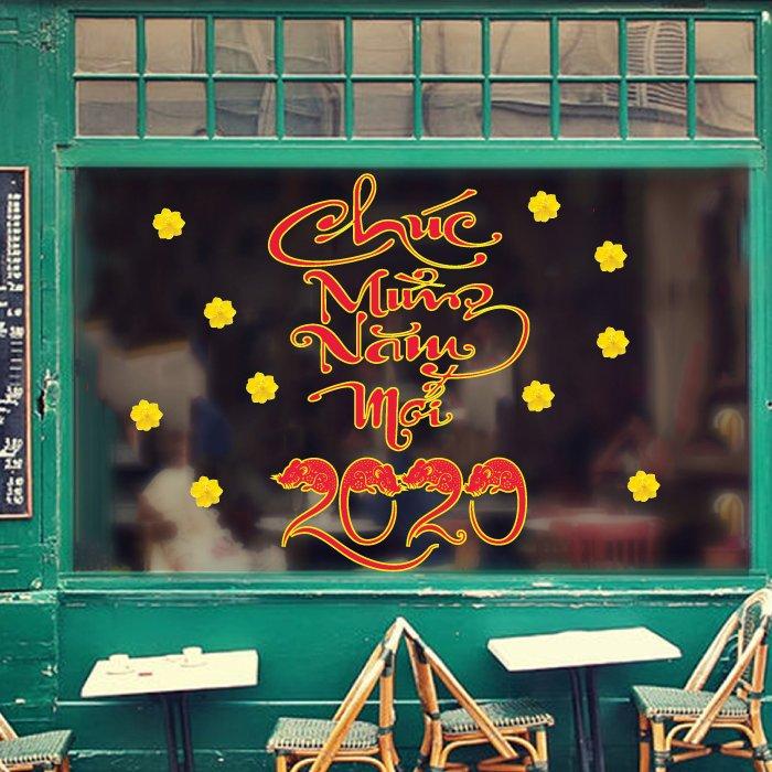 Decal trang trí tết chúc mừng xuân canh tý 2020