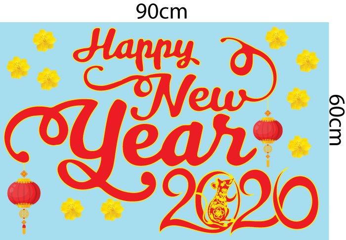 Decal trang trí tết Happy New Year 2020